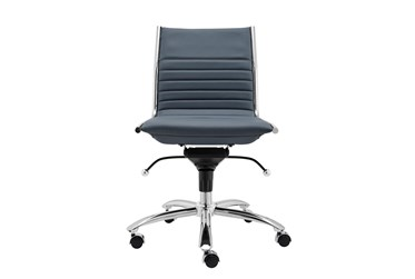 Copenhagen Blue Faux Leather And Chrome Low Back Armless Desk Chair
