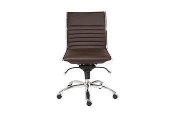 Copenhagen Brown Vegan Leather And Chrome Low Back Armless Desk Chair