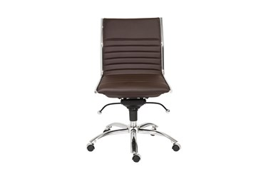Copenhagen Brown Faux Leather And Chrome Low Back Armless Desk Chair