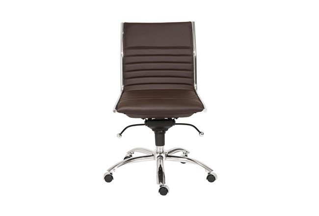 Copenhagen Brown Vegan Leather And Chrome Low Back Armless Desk Chair - 360