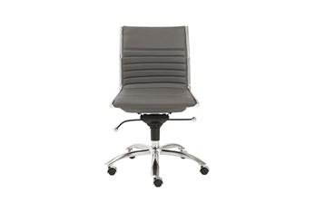 Copenhagen Grey Vegan Leather And Chrome Low Back Armless Desk Chair