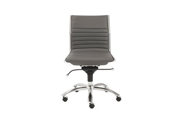 Copenhagen Grey Faux Leather And Chrome Low Back Armless Desk Chair