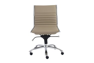 Copenhagen Taupe Faux Leather And Chrome Low Back Armless Desk Chair