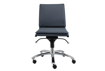 Skagen Blue Vegan Leather And Chrome Low Back Armless Desk Chair