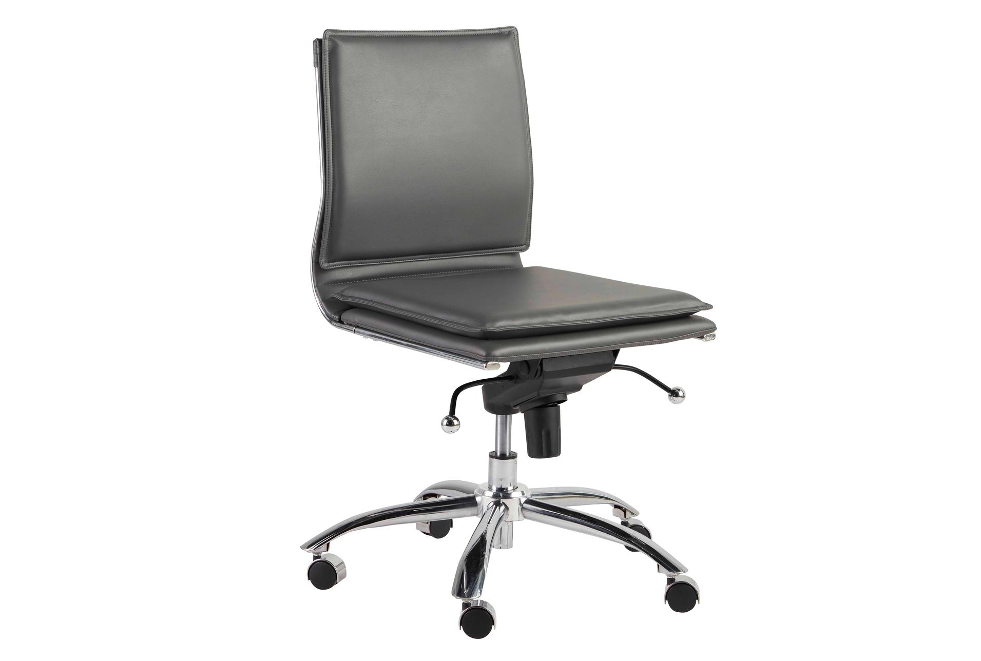 Skagen Grey Vegan Leather And Chrome Low Back Armless Desk Chair Living Spaces