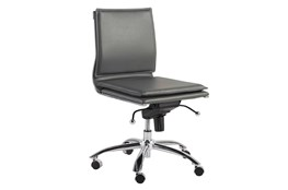 Skagen Grey Vegan Leather And Chrome Low Back Armless Desk Chair