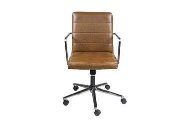 Gamla Brown Faux Leather Low Back Desk Chair