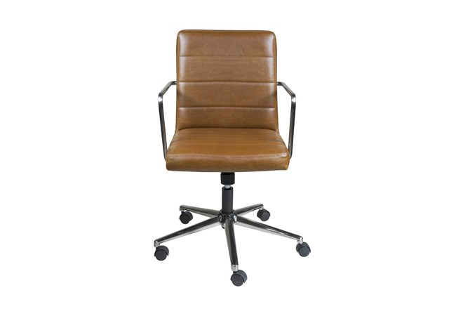Gamla Brown Vegan Leather Low Back Desk Chair - 360