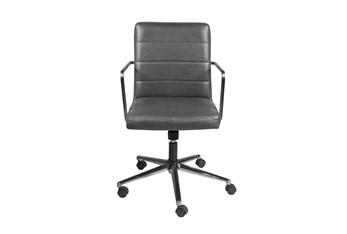 Gamla Grey Vegan Leather Low Back Desk Chair