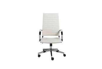 Hornslet White Vegan Leather High Back Desk Chair