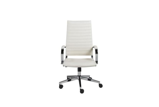 Hornslet White Faux Leather High Back Desk Chair - 360