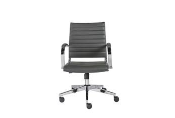 Hornslet Grey Vegan Leather Low Back Desk Chair