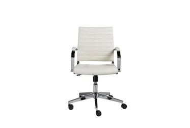 Hornslet White Faux Leather Low Back Desk Chair
