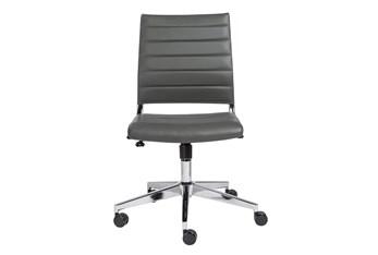 Hornslet Grey Vegan Leather Low Back Armless Desk Chair