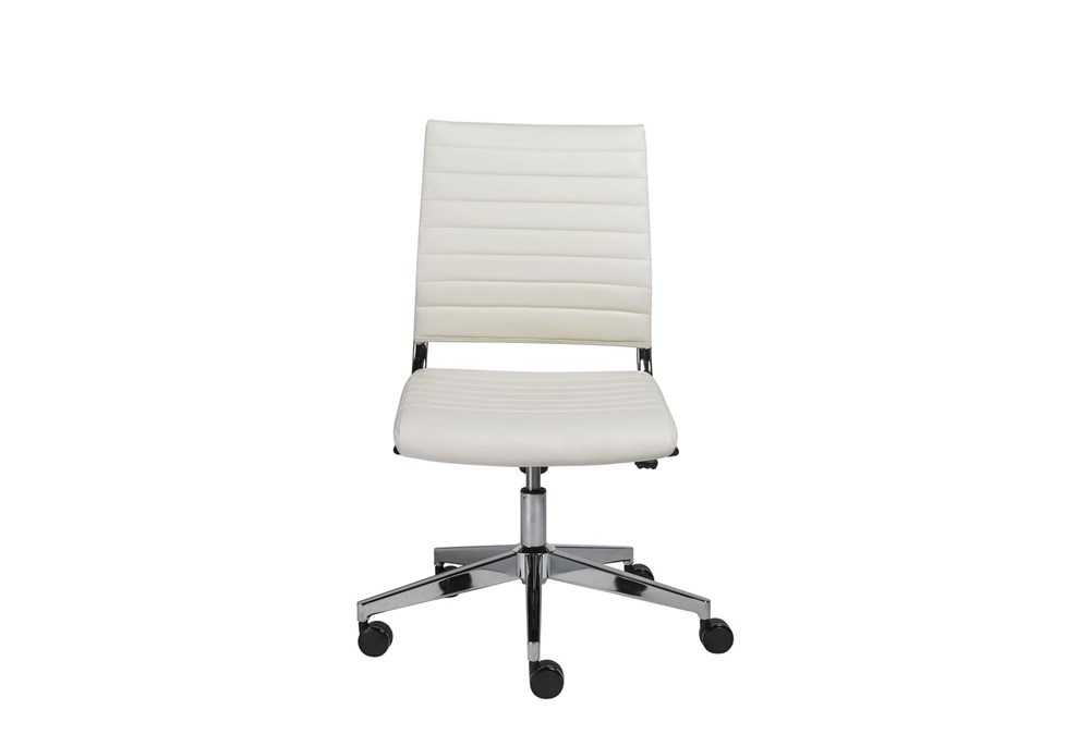 Hornslet White Faux Leather Low Back Armless Desk Chair