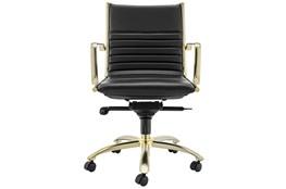 Copenhagen Black Vegan Leather And Gold Low Back Desk Chair
