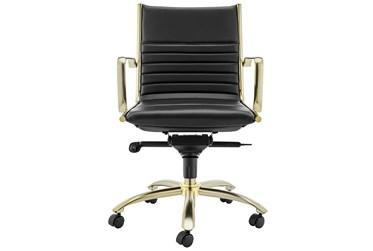 Copenhagen Black Faux Leather And Gold Low Back Desk Chair