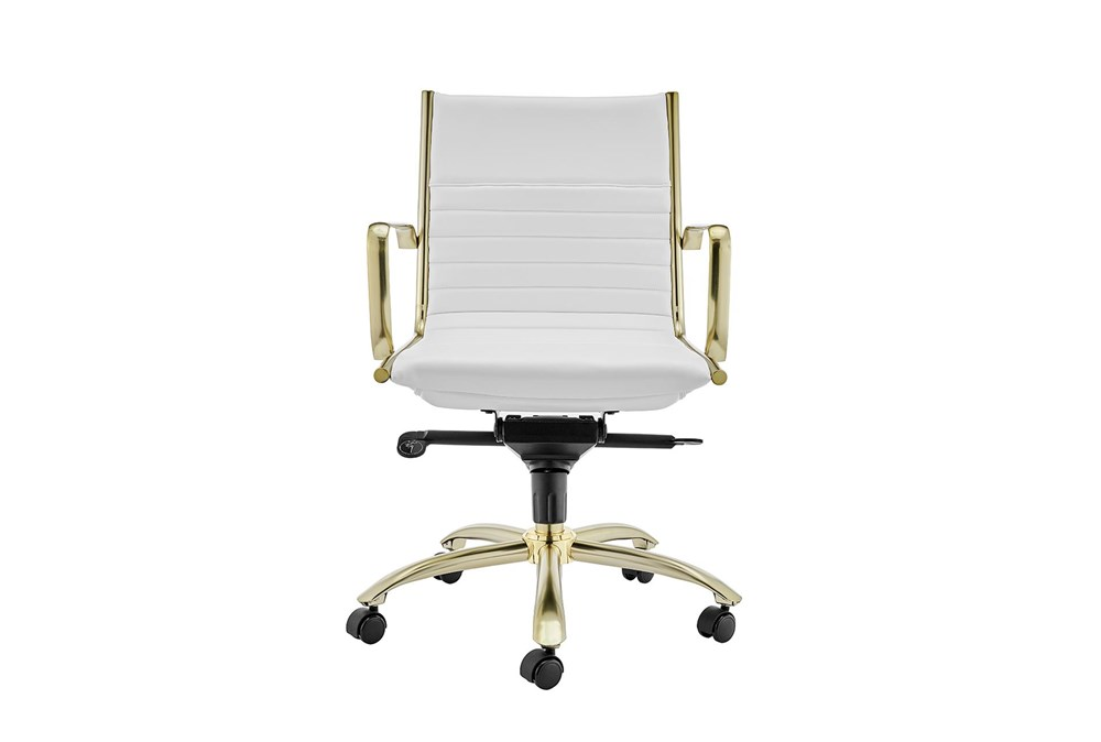 Copenhagen White Vegan Leather And Gold Low Back Desk Chair