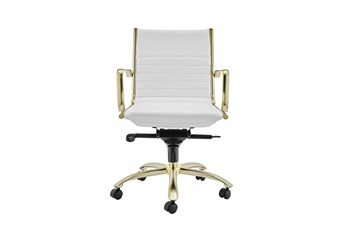 Copenhagen White Vegan Leather And Gold Low Back Desk Chair