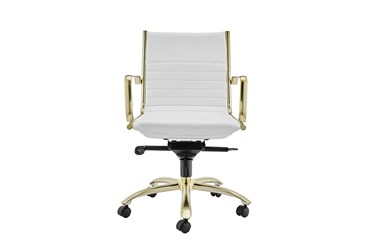 Copenhagen White Faux Leather And Gold Low Back Desk Chair