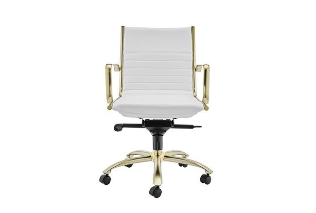 Copenhagen White Vegan Leather And Gold Low Back Desk Chair - 360