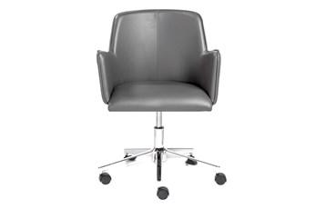 Grimstad Grey Vegan Leather Desk Chair