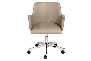 Grimstad Taupe Vegan Leather Desk Chair