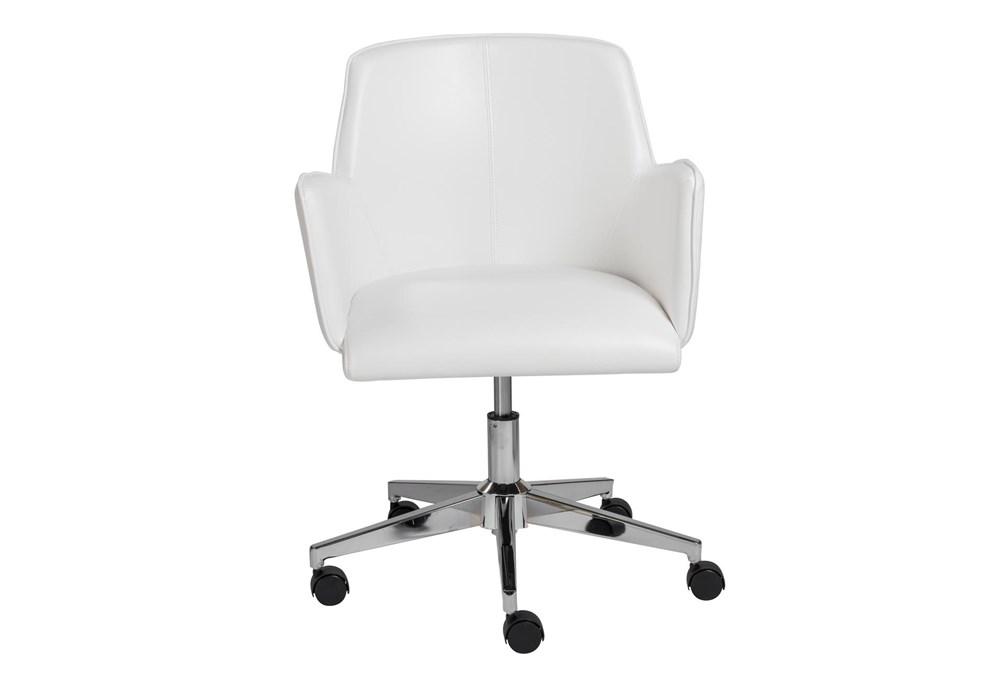 Grimstad White Vegan Leather Desk Chair