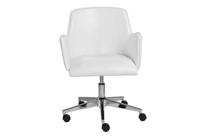 Grimstad White Vegan Leather Desk Chair - 360