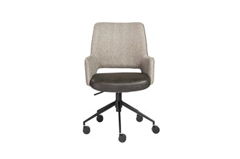 Kopervik Light Grey Two Tone Upholstered Desk Chair With Tilt