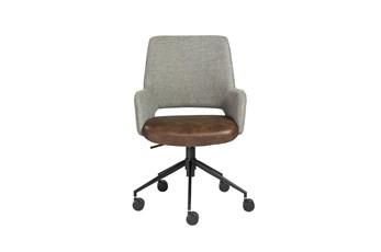 Kopervik Brown Two Tone Upholstered Deskchair With Tilt