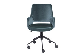 Kopervik Blue Upholstered Desk Chair With Tilt
