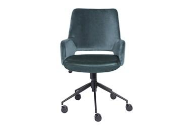 Kopervik Blue Upholstered Desk Chair With Tilt