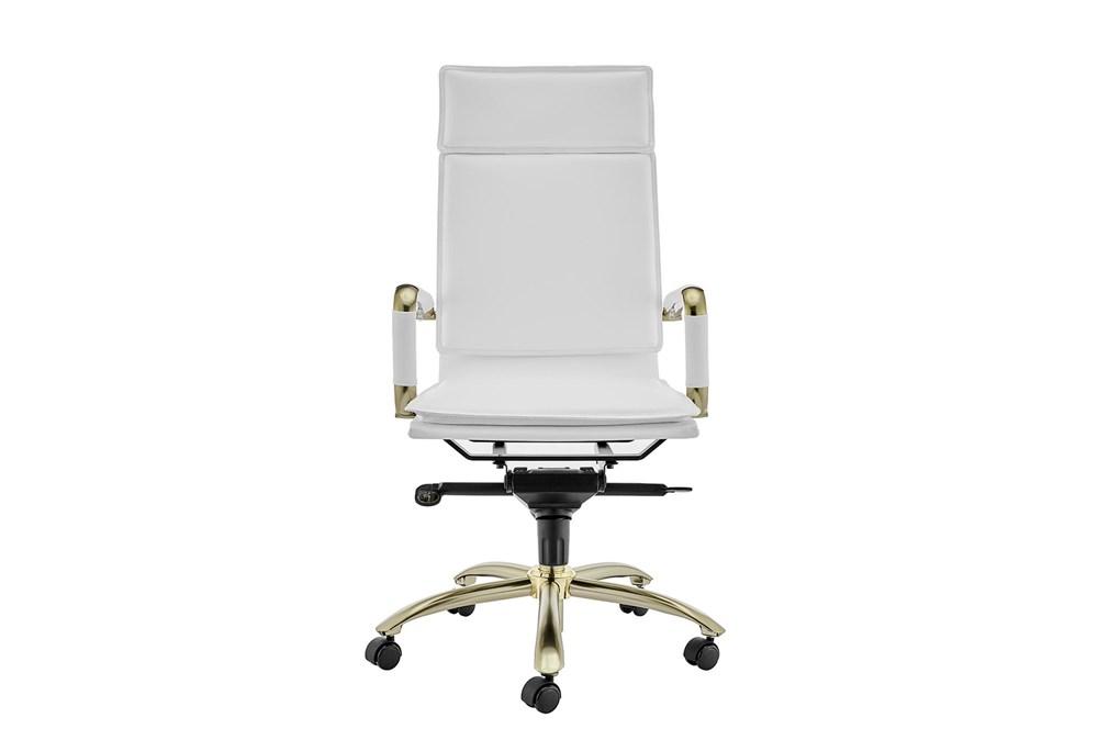 Skagen White Vegan Leather And Matte Gold High Back Desk Chair