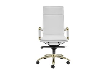 Skagen White Vegan Leather And Matte Gold High Back Desk Chair