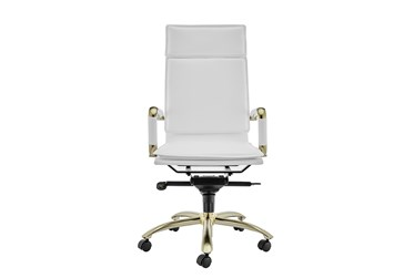 Skagen White Faux Leather And Matte Gold High Back Desk Chair