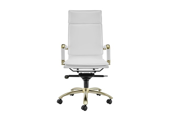 Skagen White Faux Leather And Matte Gold High Back Desk Chair - 360