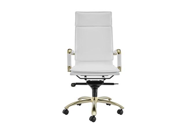 Skagen White Vegan Leather And Matte Gold High Back Desk Chair - 360