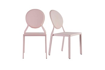 Oval Back Pink Leather-Like Upholstered Stacking Side Chair-Set Of 2