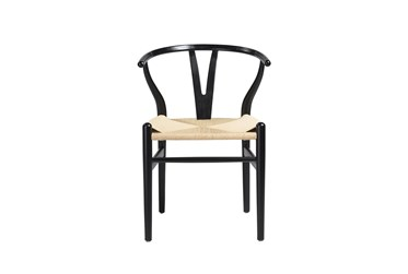 Black Wishbone Side Chair With Natural Seat-Set Of 2