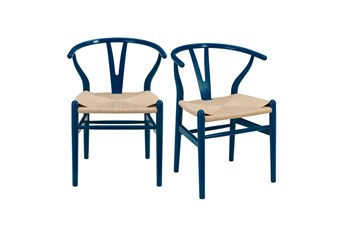 Blue Wishbone Side Chair With Natural Seat-Set Of 2