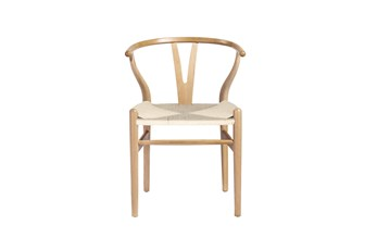 Natural Wishbone Side Chair With Natural Seat-Set Of 2
