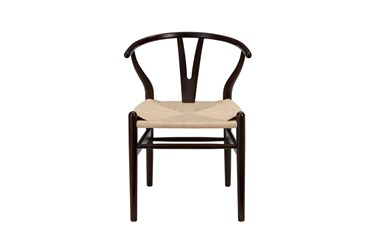 Walnut Wishbone Side Chair With Natural Seat-Set Of 2