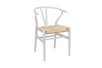 White Wishbone Side Chair With Natural Seat-Set Of 2