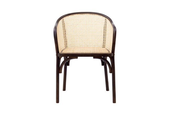 Walnut And Nautral Cane Barrel Back Arm Chair - 360