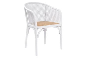 White Cane With Natural Woven Seat Barrel Back Arm Chair