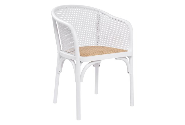 White Cane With Natural Woven Seat Barrel Back Arm Chair - 360