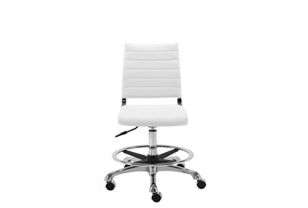 Kolding White Vegan Leather 27 Inch Adjustable Swivel Drafting Stool With Casters