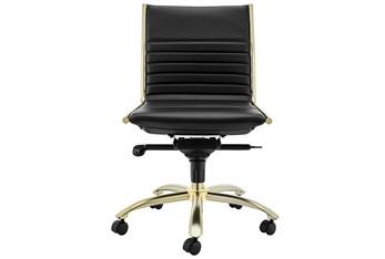 Copenhagen Black Vegan Leather And Gold Low Back Armless Desk Chair