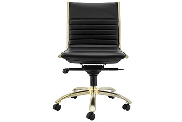 Copenhagen Black Faux Leather And Gold Low Back Armless Desk Chair
